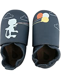 Bobux Balloon on a String Print Navy Leather Baby Soft Soles