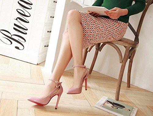 NobS Wpmen Block Toe Talons Hauts Talon Pointu Sandales Stiletto Talons Hauts Chaussures De Mariage Chaussures De Dressage Pink