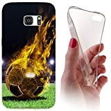Samsung S5 Mini G800 Softcase Hülle Cover Backkover Softcase TPU Hülle Slim Case für Samsung Galaxy S5 Mini G800 (1170 Fussball Fußball Schwarz Gelb Feuer)