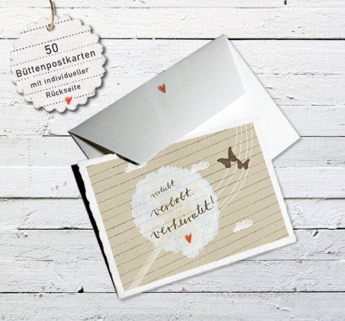 50x Hochzeitseinladungen-Set inkl. Druckservice - verliebt verlobt verheiratet - beige mit individueller Rückseite Hochzeitseinladung Einladungskarten-Set Büttenpapier bedruckt