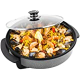 Large 32cm Diameter 1500 Watt Multi Cooker With Glass Lid By Andrew James - 2 YEAR WARRANTY- Non- Stick Surface - Cool Touch Handles