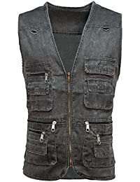 Mens Multi Pocket Utility Military Safari Vest   Waistcoat