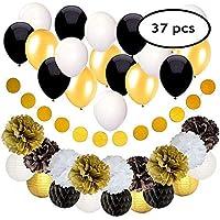 FEIGO Conjunto de decoración de la boda Decoración de cumpleaños 18 globos con 9 bolas de panal + 1 globos grandes Globos + 9 banderas de la linterna Decoraciones de fiesta para niñas y niños de cualquier edad (Negro + Oro ) 37 Piezas