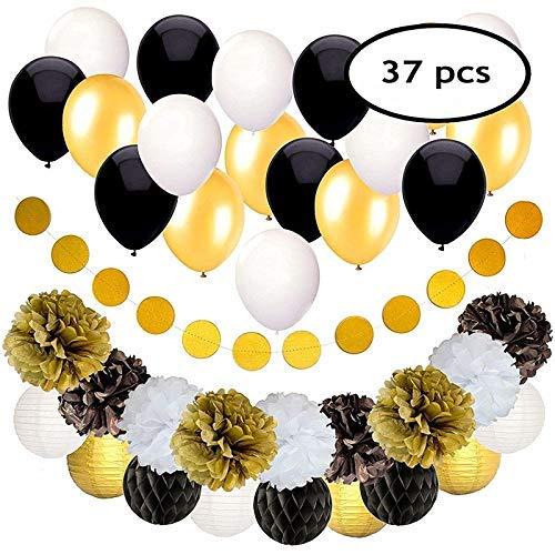 FEIGO 18 Ballons Luftballons Schwarz Gold Ballons + 9 Seidenpapier Pompoms + 1 Große Geperlte Ballons + 9 Laterne Banner für Damen Herren Geburtstag Abschluss Halloween Party Deko