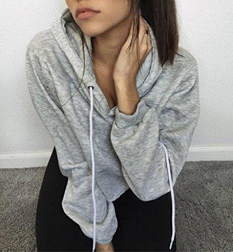 Smile YKK Long Sleeve-Kurz-Mit Kapuzen Damen Mädchen Sommer Herbst Sweater Pullover Oberteil Tops Grau