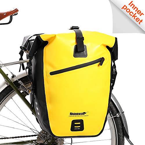 Rhinowalk Fahrradtasche, wasserdicht, für Fahrradgepäckträger, Satteltasche, Laptop, Gepäckträger, Fahrradtasche, professionelles Fahrrad-Zubehör, gelb