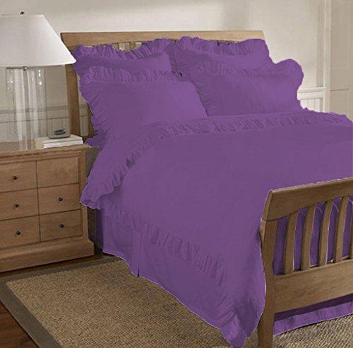 SCALABEDDING 600 TC aus ägyptischer Baumwolle, 5-teilig, Geraffter Saum Bettwäsche-Set für King Size Betten, lila - Lila Bettwäsche Geraffte