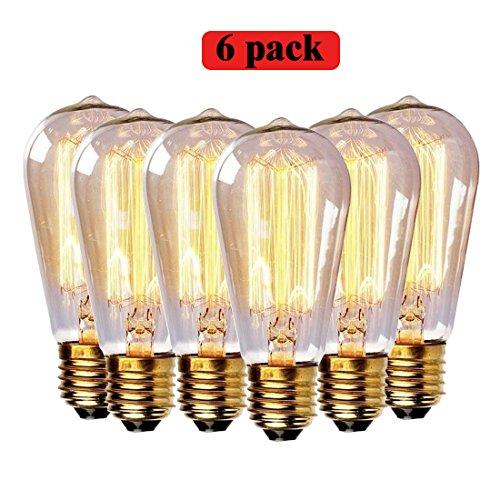 EDISON Glühbirne 60Watt Vintage Leuchtmittel, 220V E27Sockel Warmweiß klar Anhänger Leuchtmittel 6Stück St64