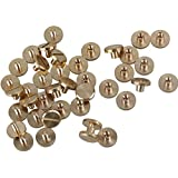BQLZR Amarillo Cinturón de latón de cuero cartera Craft Flat Tornillo Uñas Remaches de tornillos de encuadernación Chicago con studes 20unidades, Amarillo, N00352