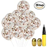 Rose Gold Confetti Balloons 20 Pack, 12 Inch Rose Gold Foil Confetti Dots Filled Clear Balloons for Wedding Bday Bridal Valentine Parties Decorations with Balloons Inflator and Golden Ribbon