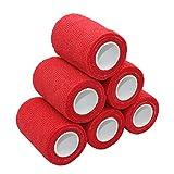 6 Stück Haftbandage Cohesive Bandage Pflasterverband Kohesive Selbsthaftende Bandagen 7,5cm Für Knie, Hand und Füße, Rot
