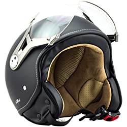 SOXON SP-325-MONO Night Casco Demi-Jet Vintage Helmet Bobber Urbano Retro Vespa Cruiser Urban Biker Mofa Chopper Piloto Scooter Moto Motocicleta, ECE Certificado, Incluyendo Parasol, Incluyendo Bolsa de Casco, Negro (Night), L (59-60cm)