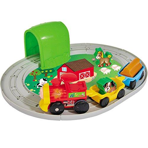 Holz Baby-Spielzeug Tier-Eisenbahn Set 18-teilig mit Licht und Sound-Funktion - Kleinkind Spiele Set Bauernhof Lokomotive Zug Tiere