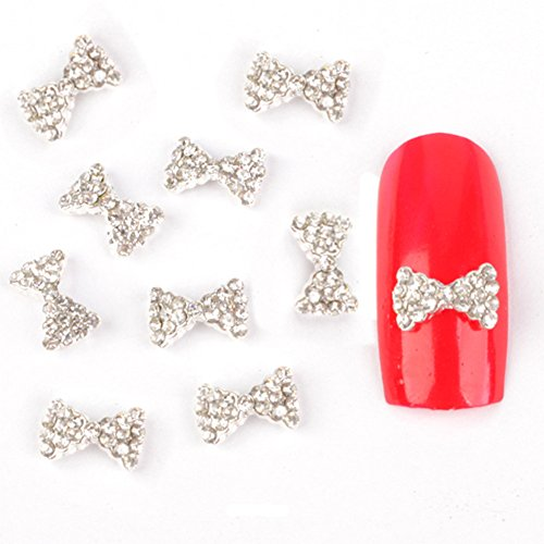 Born Pretty 10Pcs 3D Décorations Ongles Noeud Papillon Chatoyant