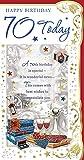 Cards Galore Online Alter 70Stecker Geburtstagskarte–Rot Wein, Manschettenknöpfe, Presents & Stars 22,9x 12,1cm