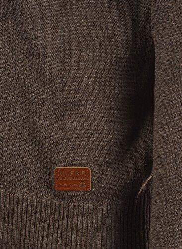 BLEND Lars Herren Strickpullover Feinstrick Pulli mit Rundhals-Ausschnitt aus hochwertiger Baumwollmischung Meliert Mocca Mix (70816)