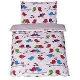 *NEW* Parure de lit bébé avec DESIGN REVERSIBLE - 2 pièces 100% coton BIO - Love Birds Gris 100x135