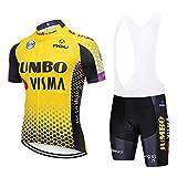 XIAKE Fietspakken voor heren, zomer, korte mouwen, fietskleding, fietsbroek met 5D gel-padded panty met korte fietsbroek