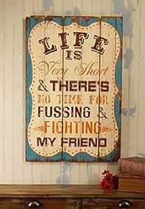 Style inspiration Life Friends Plaque en bois, effet vieilli Bleu sarcelle Décoration murale décorative 20 x 30 cm