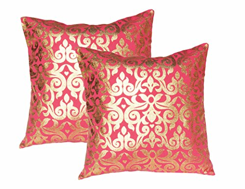 Lushomes Pink Cushion Covers with Gold Foil Print (Pack of 2)