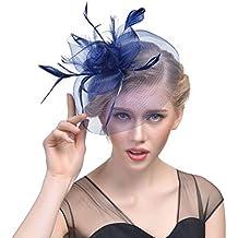 JZK Azul tocados de Pelo Banquete Diadema Plumas Fascinator Sombrero con  Horquilla para Mujer Vintage de 96c1d445e5f8