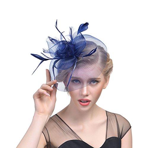 fascinator dunkelblau JZK Dame Vintage Fascinator Blume Kopfbedeckung Kopfstück Feder Haar Zubehör mit Clip & Stirnband, Elegant Haarschmuck hut für Cocktail Party Hochzeit (Schleier, dunkelblau)
