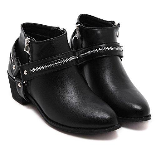 LvYuan-mxx Femmes bottes courtes / Été et printemps / Zipper pointé orteil / Talon Chunky / Bureau et Carrière / Vêtements / Casual / chaussures à talons hauts 37-BLACK
