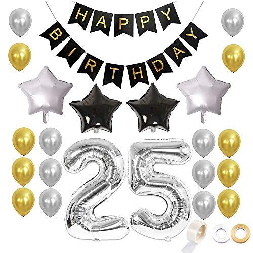 Juland 25. Geburtstag Luftballons Dekoration Happy Birthday Banner Party Zubehör Sets für Männer Boy Folienballons Gold Silber Schwarz Dekor mit Folienballon Star Latex Ballon