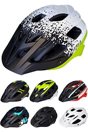 Skullcap Fahrradhelm  MTB Helm  Mountainbike Helm  Herren & Damen  Schwarz/Neon-Grün matt  Visier/Helmschild (White-Black-Green, L)