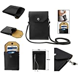 "DFV mobile - Universal litchi texture leather case pocket sleeve bag with lanyard for tablet and smartphone > vphone i6 4.7 "", color negro"
