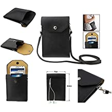 DFV mobile - Funda tablet y smartphone piel sintetica bolso con correa y cierre por clip iman para => CUBOT X11 > Color NEGRA