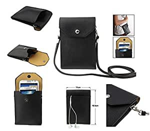 DFV mobile - Universal litchi texture leather case pocket sleeve bag with lanyard for tablet and smartphone for => Posh Mobile Micro X S240 > color BLACK