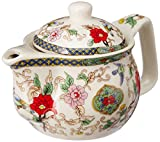 Purpledip Beautifully Painted Ceramic Kettle for 1 Cup of Tea Steel Strainer Included (10730, Multicolour, Small, 350ml)