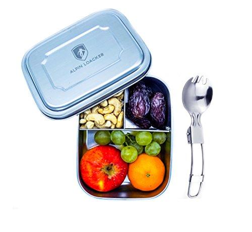 Edelstahl LunchBox für Kinder und Erwachsene mit Faltgöffel von ALPIN LOACKER - Brotdose, Brotbox, Vesperdose 1000ml | mit Fächern, Trennwand | Die perfekte größe für Ihre Lebensmittel.