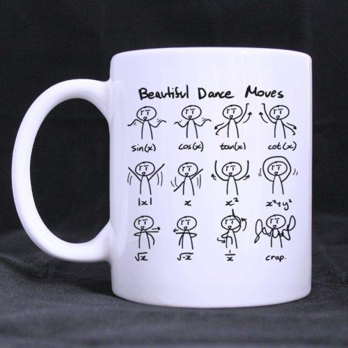 Blanc Mug à café - Funny Cute Math Mathématique Expressions Superbe Danse Bouge en céramique/100% de 311,8 gram personnalisés à café/thé Mug simple Choix de cadeau pour Noël/Nouvel An/anniversaire... par Math Thème Tasses