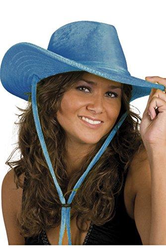 Rodeohut in blau | Einheitsgröße Erwachsene | Cowboyhut mit Kinnriemen für den Karneval (Traditionelle Cowboy Kostüm)