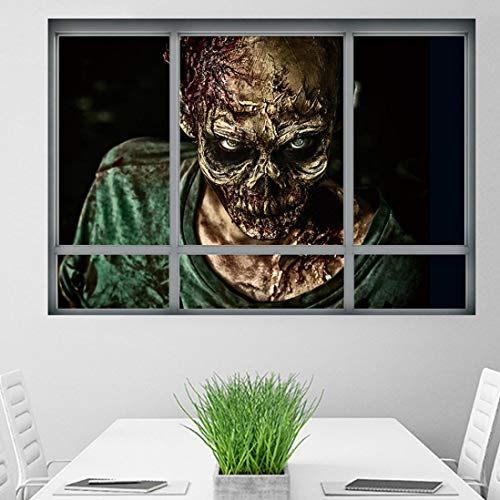 TPulling Halloween Dekoration  Mode Kreative Stereo 3D Gefälschte Fenster Wandaufkleber Haushalt Zimmer Halloween Zombie Aufkleber Wandbild Decal Removable Terror Dekoration Party Decor (A)