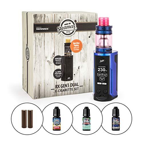 Wismec/Steamax RX Gen3 Dual Kit inkl. Gnome King 5,8 ml + 2 x 3000mAh Akku + 3x 10 ml Dr. Fog Liquid by Premium Labs (nikotinfrei) E-Shisha E-Zigarette (blau-lila)