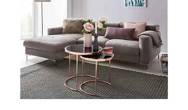 Colore: Nero//Rame /ø 45 cm Wohnling Design Tavolino in Metallo e Vetro