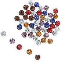NiceButy de 50pcs 10m m granos cristalinos del encanto de la Ronda los granos del espaciador del Rhinestone de polímero pavimentan la bola del disco Suministros para hacer la joyería -color mezclado-1