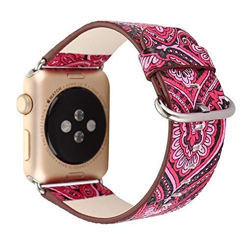 OWEM National Retro Ethnic Style Floral Bunte PU Lederband Für Apple Watch Iwatch 38/42 Mm Armband,Pink,42mm