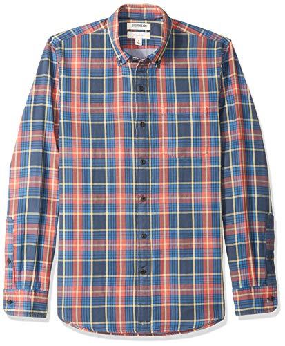 Goodthreads Slim-Fit Long-Sleeve Doubleface button-down-shirts, Navy Red Plaid, US Tall (EU XL-XXL)