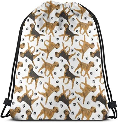 landianguangga Trotting Border Terriers 3D Print Drawstring Backpack Rucksack Shoulder Bags Gym Bag for Adult 16.9
