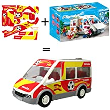 Pack Playmobil 5267 Mini Bus del Hotel + Stickers Adhesivos de Playmyplanet Fútbol España Compatibles con Playmobil Mini Bus 5267