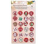 matches21 Adventskalenderzahlen Metall Buttons bunt Bedruckt Zahlen 1-24 & Motive mit Anstecknadel für Adventskalender