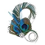 OULII Pluma casco cristal Peacock pluma plato pelo Clip baile boda horquilla boda suministros accesorios de vestir fiesta disfraces, regalo de Navidad