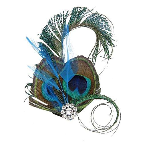 OULII Füllfederhalter Helm Glas Peacock Feder Teller Haar Clip Tanz Hochzeit Gabel Hochzeit Lieferungen Zubehör von Kleidung Party Kostüm, Weihnachtsgeschenk