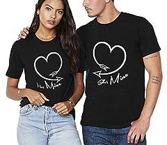 Idea Regalo - San Valentino Shirt King Queen 100% Cotone T-Shirt Coppia Couple per Fidanzati Camicia Corta Cuore Stampa Uomo Donna Moda Dolce (Nero+Nero,L+S)