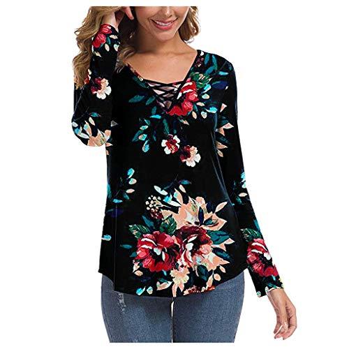 TOPKEAL Langarmshirt Damen Herbst Langarm V-Ausschnitt Sweatshirt Casual Bedrucktes T-Shirt Lose Bluse Oberteil Top (rot, M)