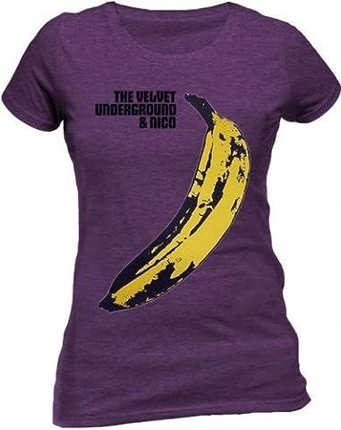 Velvet Underground - Shirt - Warhol Banane, Lila Damen T-SHIRT, GR.M (Lichtenstein Moderne Malerei)